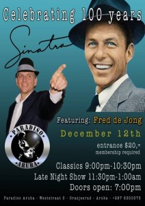 A tribute to Frank Sinatra – The 100th Birthday of Mr. Blue Eyes – Saturday, December 12th, 2015 from 9:00 pm till 1:00 am